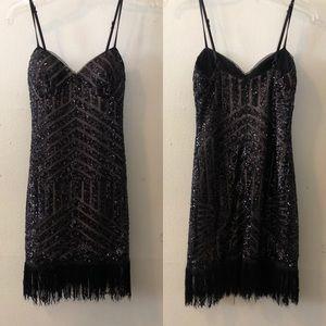 Xscape Black sequin dress with fringe bottom